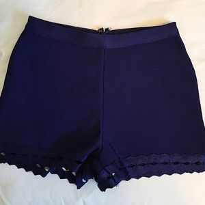 High waisted stretchy blue shorts